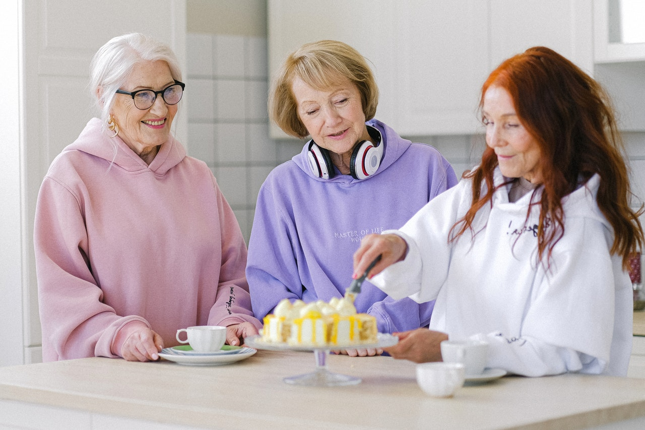 mature women having cake